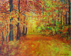 Forestpath in autumn, Acrylic on canvas, 40 x 50