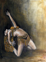 The Bellydancer, Watercolor and acrylics on paper, 50x30