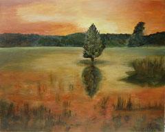 Am Weiher, Acryl auf Leinwand, 40 x 50