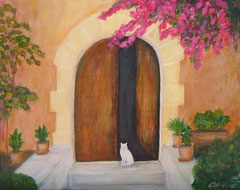 Mediterranean entrance, Acrylic on canvas, 41x33 - Sold