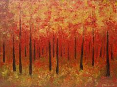 Herbstwald, Oel auf Leinwand, 30 x 40