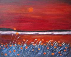 Mohnfeld vor Meeresstrand, Acryl auf Leinwand, 40 x 50