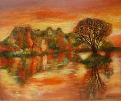 Herbstwald am See, Acryl auf Leinwand, 38 x 46