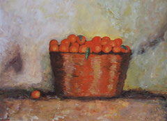 Oranges in basket, Acrylic on paper, 30 x 42