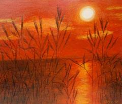 Sonnenuntergang im Schilf, Acryl auf Leinwand, 38 x 46
