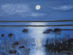 Moonlight magic, Acrylic on canvas, 28 x 34 - Sold