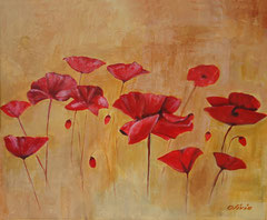 Poppies, Acryl & mixed media on canvas, 38 x 46