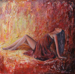Passion, Acrylic on palm wood, 60x60 - Sold