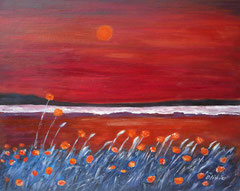 Poppy field with beach, Acrylic on canvas, 40 x 50