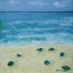Grüne Muscheln im Sand, Mischtechnik auf Holz, 30 x 30