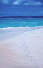 Fussspuren im Sand, Acryl auf Papier, 42 x 27