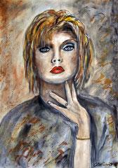 Debbie, Watercolor on paper, 46x32