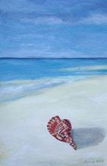 Muschel am Strand, Acryl auf Papier, 42 x 27