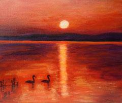 Abendstimmung mit Entenpaar, Acryl auf Leinwand 38 x 46 - Verkauft