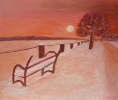 Abendstimmung im Winter, Acryl auf Leinwand, 38 x 46