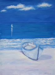 Boot am Stand, Acryl auf Papier, 40 x 32