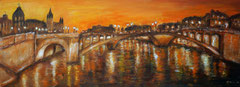 Nacht über Paris, Acryl auf Leinwand, 30x80