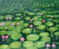 Seerosen grün, Acryl auf Leinwand, 38 x 46