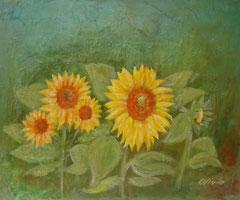 Sonnenblumen, grün, Acryl und Mischtechnik auf Leinwand, 38 x 46