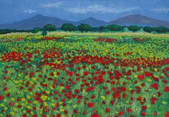 Mallorquinisches Blumenfeld, Acryl auf Papier, 30 x 42