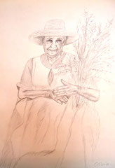 Ibizan herbal woman, pencil on paper, 40x30