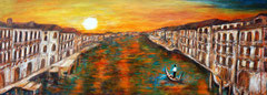Sunset in Venice, Acrylics on canvas, 30x80
