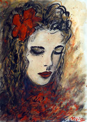 Camille, Watercolor on paper, 42x30 - Sold