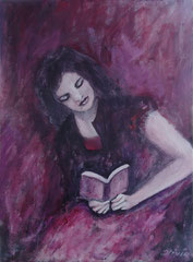 Girl reading, Acrylic on treated paper, 40x30