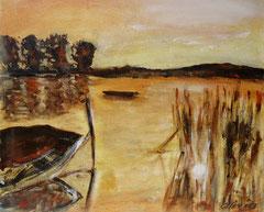 Boot im Schilf, Acryl auf Leinwand, 38 x 46