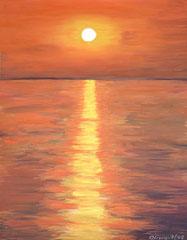 Sonnenaufgang über dem Meer, Acryl auf Papier, 40 x 32