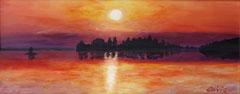 Islands in the lake, Acrylic on wood, 15 x 47