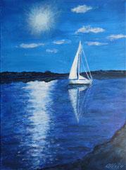 Segelboot im Sonnenlicht, Acryl auf Leinwand, 40 x 30