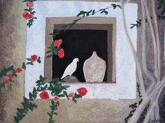Taube im Fenster, Acryl auf Papier, 30 x 40