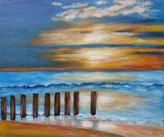 Wellenspiel am Strand, Acryl auf Leinwand, 46 x 55