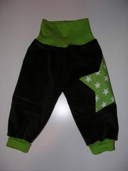 Brauner Feincord und grüner Jersey, Grösse 74