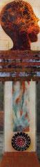 Relikt | Mischtechnik auf Plexiglas | 2 mal 40 x 150 | 900,-