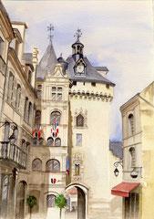 Hôtel de ville Loches - 30x40cm - Aquarelle - 120€