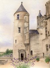 Tour Agnes Sorel Loches - 30x40cm - Aquarelle - 120€