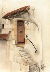 Une porte haute Loches - 30x40cm - Aquarelle - 120€