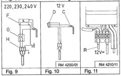 Fig 9: 230V Heizwendel, G= Netzschalter, F= Thermostat.  Fig 10: 12V Heizwendel (C), D= Schalter