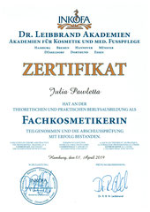 Zertifikat Fachkosmetikerin