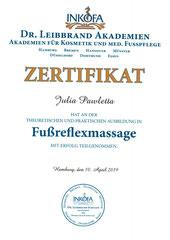 Zertifikat Fussreflexmassage