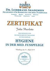 Zertifikat Hygiene in der Fusspflege