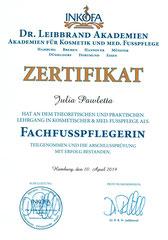 Zertifikat Fachfusspflegerin