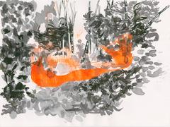 Streifzüge_Waldweg 3_2017_Tusche auf Papier_24 x 32 cm