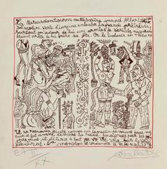 """Robert Combas """"Sérial niqueurs"""" numérotée E.A II/XX lithographie 50X50cm encadrée entre deux verres et chêne blanchi.Galerie GABEL BIOT"""