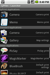 cyPrint – Launcher Screen