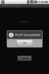 "cyPrint - ""Print Succeeded"" message"