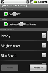 cyPrint – Launcher Settings Screen