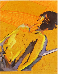 DIE STILLE IST AUCH NUR EIN GERÄUSCH, 2019, Holzschnitt im Handabzug, Öl auf Papier, je 34 x 26 cm